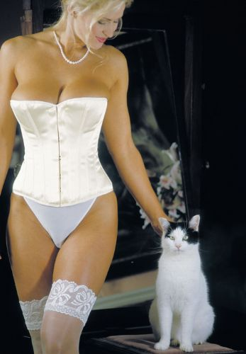 "Ivory Satin Overbust Bridal Corset (12.5"" front)"